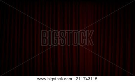 Red mysterious velvet stage curtain closed down