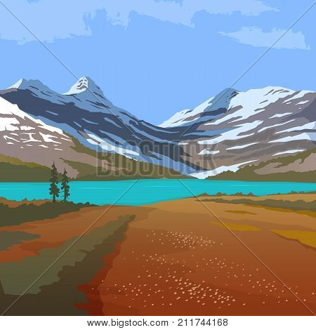 Vector illustration on the themes of wild nature of the USA, survival in the wild, hunting, camping, trip. Mountain landscape. Wanderlust.