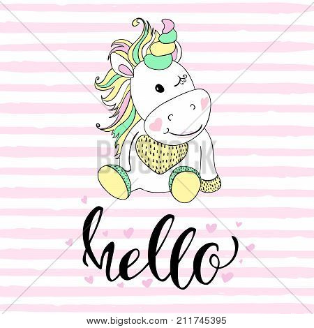 hello in unicorn typography and unicorn illustration vector. Illustrations for children. Baby Shower card.