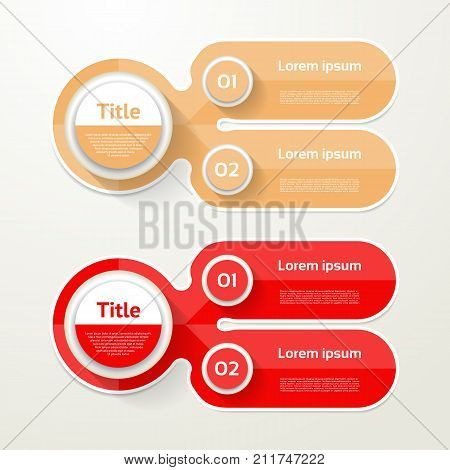 Two elements banner. 2 steps design chart infographic step by step number option layout.