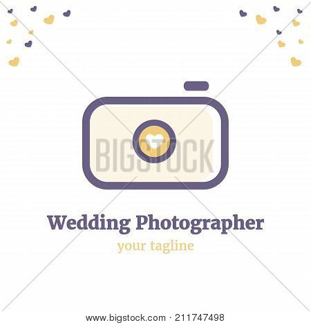 Vector logo template for wedding photography. Illustration of camera with heart on the lens in purple and yellow colors. EPS10. Creative and cute logotype design for girl-photographer.