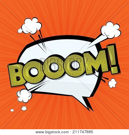 Boom vector comic cloud. Funny pop art tag. Lettering Boom, bomb. Comic text sound effects. Vector bubble icon speech phrase, cartoon exclusive font label tag expression, sounds illustration.Comics