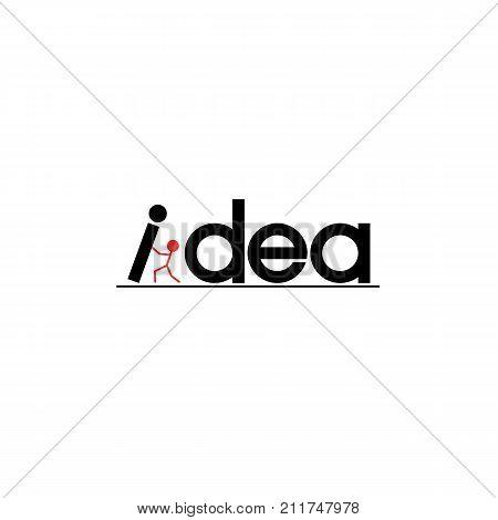 Idea word inspiration banner. Concept motivation inscription lettering design poster. Silhouette of a success man raise a letter. Success solution creative symbol t-shirt print.