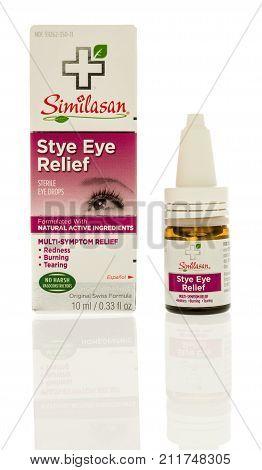 Winneconne WI - 24 October 2017: A bottle of Similasan stye eye relief eye drops on an isolated background.