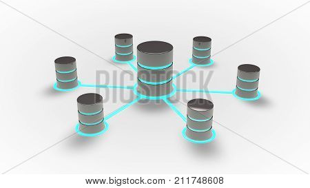 Database and networking concept,  Database icons with blue glow .3d render