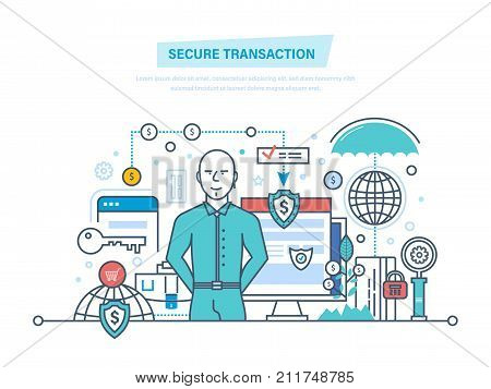 Secure transactions and payments, the guarantee security of financial deposits, transactions and savings deposits. Illustration thin line design of vector doodles, infographics elements.