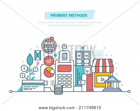 Methods and forms of payment, security of financial transactions. Concept for shopping, payment method, e-banking. Illustration thin line design of vector doodles, infographics elements.