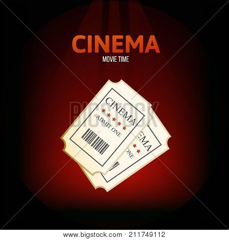 Cinema, movie time concept. Entertainment in your spare time, event. Two retro movie tickets on cinema. Vector illustration isolated.