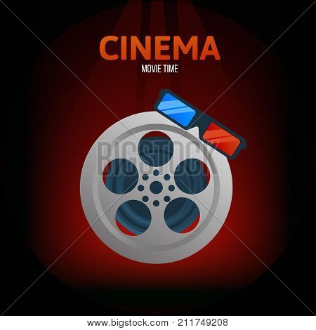 Cinema, movie time concept. Classical film with a film, and glasses for viewing three-dimensional video, in a three-dimensional projection. Vector illustration isolated.