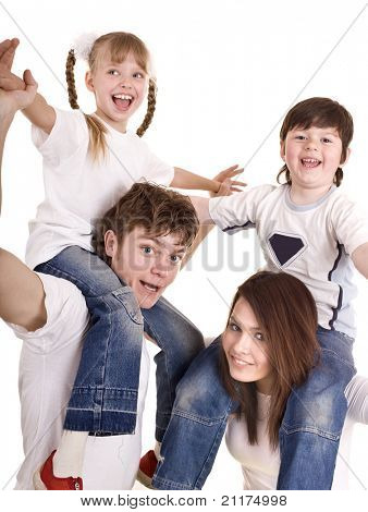 Happy family with children. Care child. Isolated.