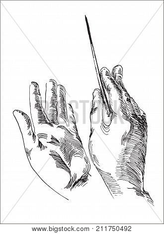 Line art illustration of a human hands holding conductor's baton for business strategy concept