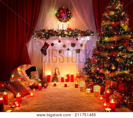 Christmas Room Lighting Xmas Tree Fireplace Decoration in New Year House Interior