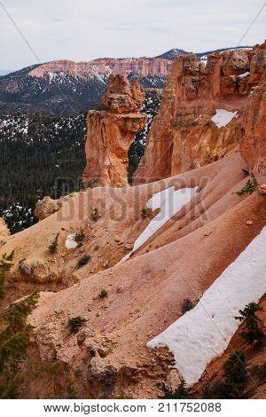 Hoodoo at the Natural Bridge overlook in Bryce Canyon National Park Utah USA