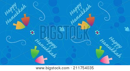 Festive Hanukkah pattern with colorful dreidels and happy Hanukkah text. Eps10