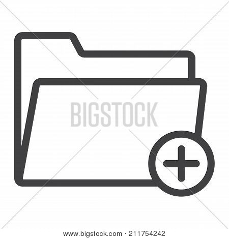 Add Folder line icon, web and mobile, add file sign vector graphics, a linear pattern on a white background, eps 10.