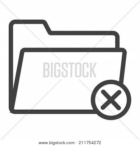 Delete folder line icon, web and mobile, delete file sign vector graphics, a linear pattern on a white background, eps 10.