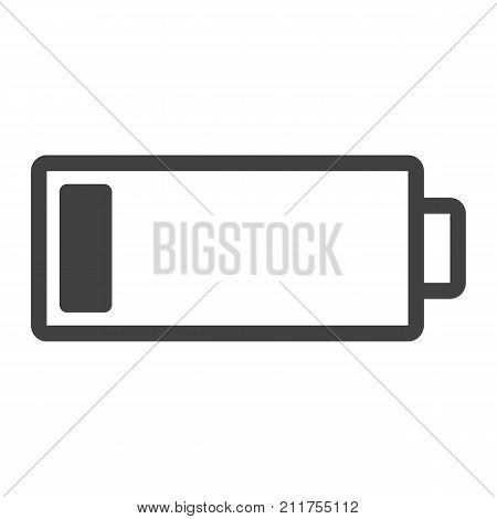 Low battery line icon, web and mobile, energy sign vector graphics, a linear pattern on a white background, eps 10.