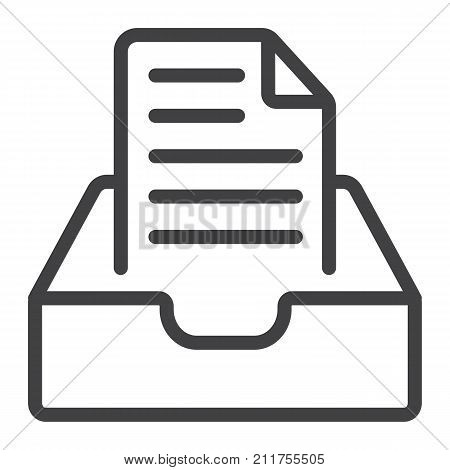 Inbox line icon, web and mobile, message sign vector graphics, a linear pattern on a white background, eps 10.