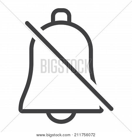 Silent Bell line icon, web and mobile, alarm off sign vector graphics, a linear pattern on a white background, eps 10.
