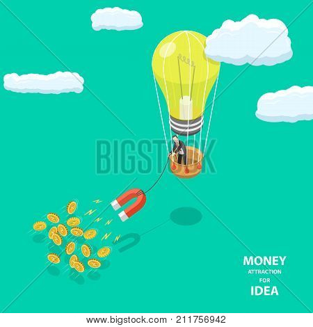 Money attraction for idea flat isometric low poly vector concept. Man is driving an air balloon that looks like lightbulb. Man is dragging a magnet that for catching money.