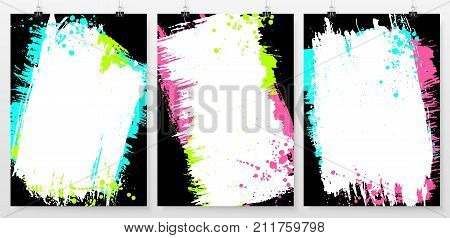Grunge splatter posters set. Ink stains design elements. Spray splashes banners collection. Liquid stains covers. Business poster templates. Abstract vector illustration.