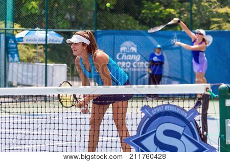 BANGKOK MAY 27 : Deeon Mladin and Nicole Collie of Australia action in Chang ITF Pro Circuit 4 International Tennis 2015 at Rama Gardens Hotel on May 27 2015 in Bangkok Thailand.