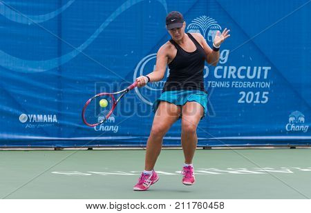 BANGKOK MAY 27 : Annie Donaldson of Australia action in Chang ITF Pro Circuit 4 International Tennis Federation 2015 on WS main draw at Rama Gardens Hotel on May 27 2015 in Bangkok Thailand.