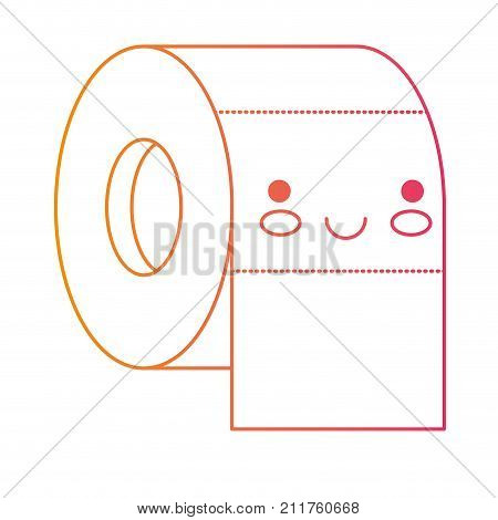 kawaii toilet paper roll in degraded yellow to magenta silhouette vector illustration