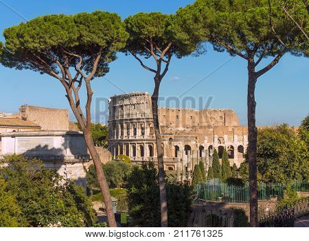 Panoramic view the Colosseum-Coliseum-from Palantine hill in Rome, Italy