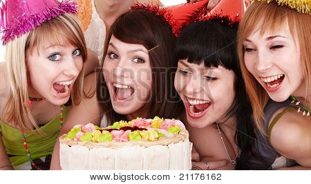 Group of young people celebrate happy birthday.  Isolated.