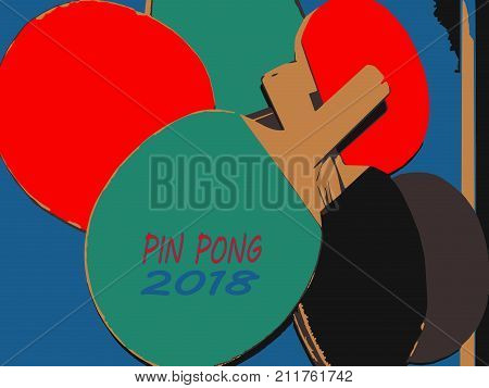 Rackets for ping pong. Color vector illustration