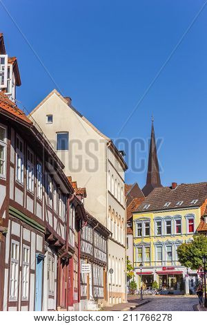 HILDESHEIM, GERMANY - OCTOBER 15, 2017: Colorful street with half-timbered houses in Hildesheim Germany