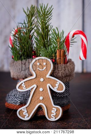 Christmas Holiday Card With Boots And Gingerbread Man Cookies. New Year Toy For Christmas Tree - Sho