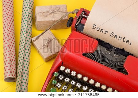 Christmas Concept - Red Typewriter With The Text
