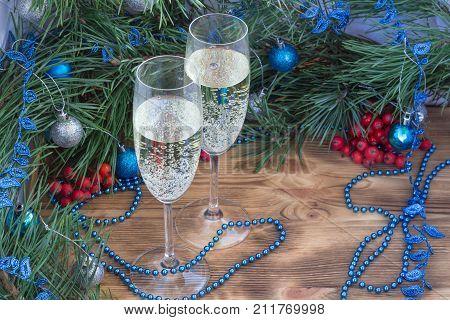 New Year Still Life, Champaign, Pine, Ornament Decoration