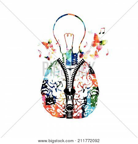 Colorful human brain with zipper and light bulb vector illustration. Creativity concept, education background