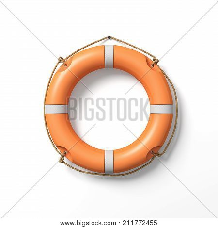 3d rendering of a single orange life buoy hanging from a nail in the wall. Life savior. Life insurance. Help line.
