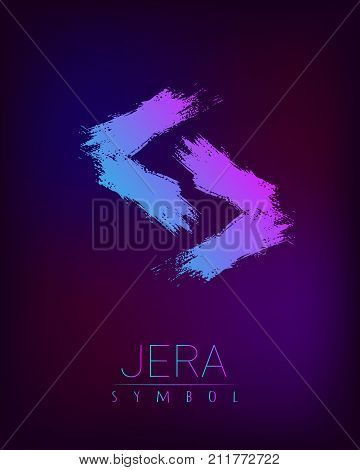 Rune Scandinavia is a Gera riches vector illustration. Symbol of Futhark letters. Brush stripes with trend gradient blue pink color on blur dark background. Magic and mystery sign. Spiritual. poster