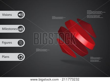 3D Illustration Infographic Template With Cylinders Between Two Cones Askew Arranged