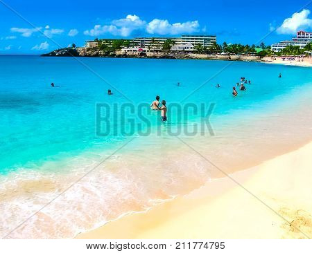 Philipsburg, Sint Maarten, Kingdom of the Netherlands - the sand beach at Maho Bay