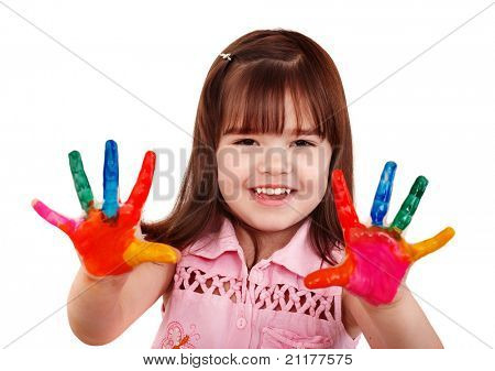 Happy child with colorful  painted hands. Isolated.