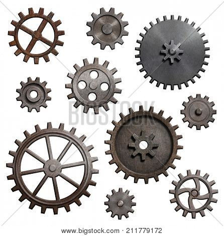 old metal gears and cogs isolated 3d illustration