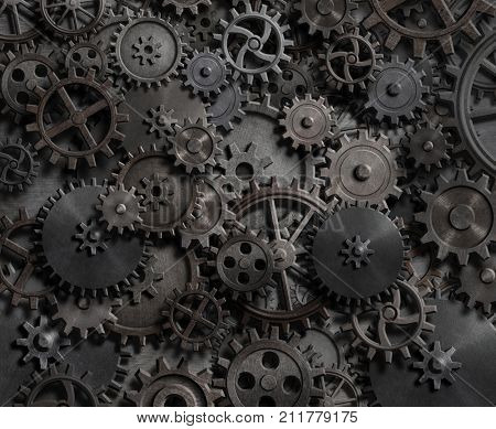 gears and cogs technology background 3d illustration