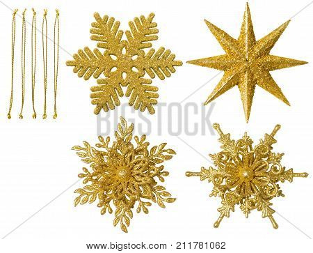 Christmas Snowflake Isolated Ornament Hanging Snow Flake Decoration New Year Toy over White Background