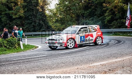 SAN MARINO, SAN MARINO - OTT 21 - 2017 : TOYOTA COROLLA WRC old racing car rally THE LEGEND 2017 the famous SAN MARINO historical race