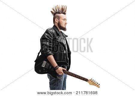 Punk rocker holding an electric guitar isolated on white background