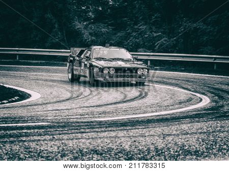 SAN MARINO, SAN MARINO - OTT 21, 2017 :LANCIA RALLY 037 old racing car rally THE LEGEND 2017 the famous SAN MARINO historical race
