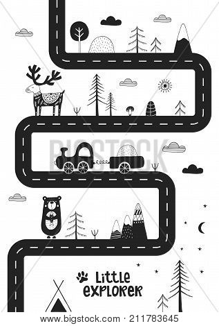 Little Explorer - Cute Hand Drawn Nursery Poster With Road, Wild Animals And Car. Monochrome Vector