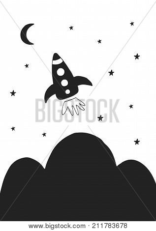 Cute Hand Drawn Nursery Poster With Space Rocket In Scandinavian Style. Monochrome Vector Illustrati