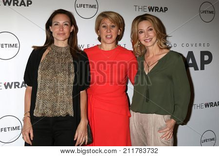 LOS ANGELES - OCT 26:  Claire Forlani, Sharon Waxman, Sharon Lawrence at the Power Women Breakfast L.A. at the Montage Hotel on October 26, 2017 in Beverly Hills, CA